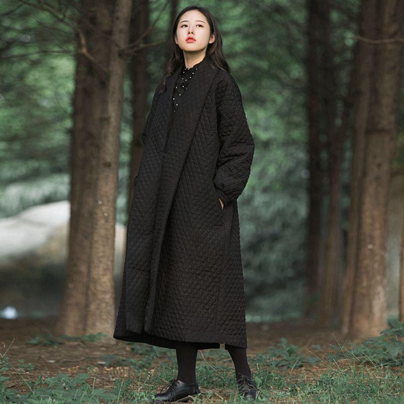 Vintage lattice cotton parkas women autumn winter Thick loose outerwear coats lady long Black suit collar jacket Plus size X6290Одежда и ак�е��уары<br><br><br>Aliexpress