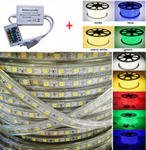 Wholesale 100M Flexible SMD 5050 led ribbon 220V LED Strip Rope Light Waterproof IP67 + Power Cords Plug