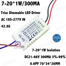 3 Pcs Isolation 20W AC185-277V Dimmable LED Driver 7-20x1W 300mA 3%-99% DC21-66V ConstantCurrent  For Ceiling Lamp Free Shipping