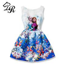 2017 New Summer Girls Dress Anna Elsa Dress Vestidos Teenagers Butterfly Print Princess Party Dress for Girls Baby Girl Clothes