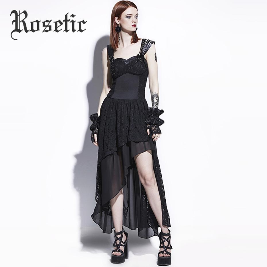 Rosetic Gothic Maxi Dress Black Asymmetric Women Summer Lace A-Line Fashion Wild Punk Street Rock Sequined Mod Goth Maxi Dresses 6