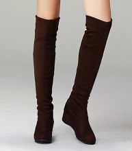 2017 autumn winter long elastic suede leather women's over the knee boots hidden middle heels PR1162 black brown blue  high boot