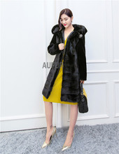 Winter Black Real Lamb Fur Coat Women Winter Overcoat Big Genuine Mink Fur Trim Hood with Pockets Button Decorated AU00711