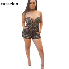 2017 Sexy Bodysuit Women Lace Rompers Sexy Strapless Club Wear New Arrive Bodycon Combinaison Short Femme Monos Cortos De Mujer(China)