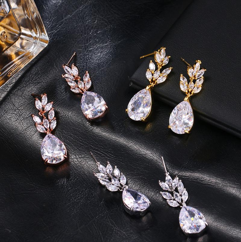 Geometric Wassertropfen Kristall Braut Lange Tropfen Anhänger Ohrringe O9D9