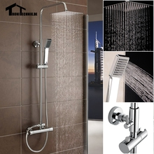 Chrome Thermostatic Water Shower Faucet Set Bath Tub Shower Mixer Complete Units Twin Head Square Brass Wall Mounted Tap SR3