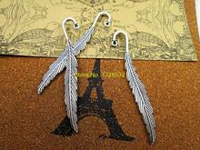 5pcs 80mm Tibetan silver feather bookmark Charms Pendants DIY(China)
