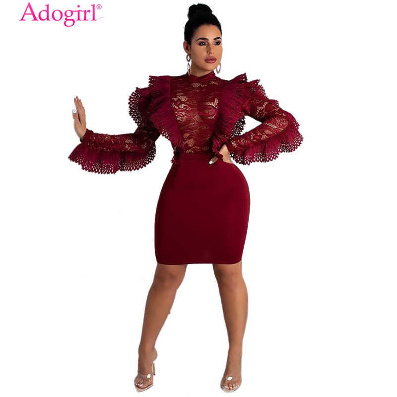 Adogirl Burgundy Ruffle Sheer Lace Bodycon Dress O Neck Long Sleeve Empire  Sheath Mini Night Club 07534e84a789