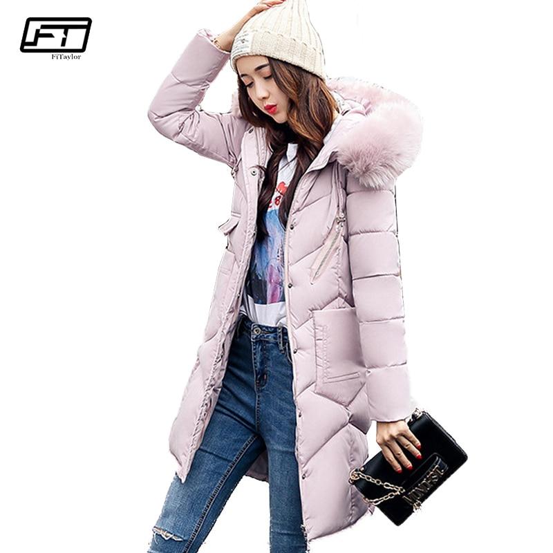 Fitaylor 2017 Winter Jacket Women Hooded Raccoon Fur Parka Cotton Padded Female Coat Thick Warm Jackets Medium Long OutwearÎäåæäà è àêñåññóàðû<br><br>