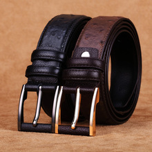 2016153 men genuine leather made MEN black ostrich bridle buckle jeans retro genuine cowhide Leather Belts(China)