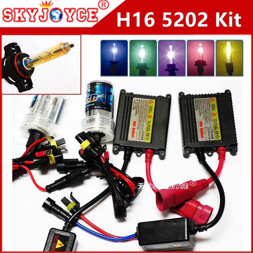 1 set AC hid kit H16 5202 lampada bulb xenon h16 3000K 4300K 6000K 5000K 5202 hid fog lamp deep blue auto car styling decoration<br>