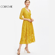 COLROVIE Lace Surplice Front Party Dress Yellow Self Tie Women A Line Summer Dresses 2017 Fall Vintage Elegant Plus Size Dress(China)