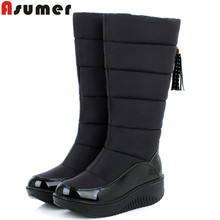 ASUMER 2017 new winter warm snow boots fashion platform fur cotton shoes flat heels knee high boots women pu leather boots