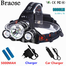 Led Headlight 9000 Lumen 3XT6 Headlamp 3x XM-L T6 LED Head Lamp Flashlight Head Torch Headlamp Battery Recharge Car Charger +USB