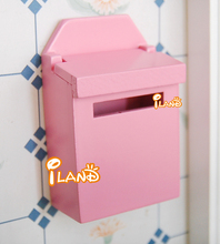 Fairy Doors Accessories Wooden Mailbox light pink 1/12 Dollhouse Miniature Furniture 6 colors(China)