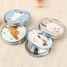 CN-RUBR PU Mini Beauty Pocket Mirror Cartoon Animal Makeup Compact Mirror Girl Souvenir Gift Double-Sided Multi-Function Mirrors