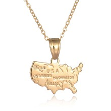 MJARTORIA Gold Color Lettering Map America USA State Necklaces & Pendants For Women Men Fashion Jewelry Charm Necklace 45cm