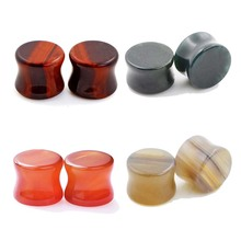 Eye Stone Plugs & Tunnels,Mix 6-16mm Organic Saddle Flared Solid Ear Plugs Body Piercings