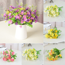 Bouquet Daisy Silk Simulation Artificial Flowers For Bridal Vintage Countryside Chrysanthemum Wedding Home Decor(China)
