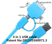4 in 1 usb cable Charging and data sync Applicable to charger ipad 2 4 mini charger cable air usb aux cable for car usb mp4 3.5