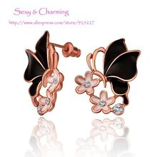 E659 Welcome Mixed Wholesale!Nickle Free Gold Color CZ Crystal Butterfly Ear Studs Earrings Fashion Jewelry(China)
