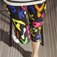 Multi women slim jeggings mid-calf length leggings 2016 summer pencil pants flower print ladies casual  leggins KM1608