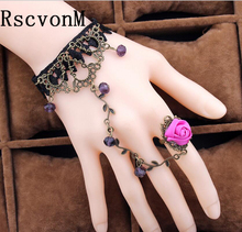 New Vintage Black Lace Bracelets For Women Fine Red Rose Metal Bracelets Gothic Style Handmade Lace Bracelets With Finger Circle