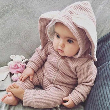 Autumn Winter Warm Rabbit Ear Zipper Baby Rompers Infant Boy Girl Cotton Jumpsuit Cute Animal Bunny Style Toddler Hooded Clothes(China)