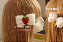 Princess sweet lolita Hairpin Fluffy soft DIY bowknot barrette handmade bell hair headdress Plush Soft sister clip GSH034(China)