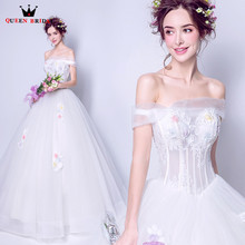 Buy QUEEN BRIDAL 2018 New Wedding Dresses Ball Gown Tulle Flowers Elegant Bride Wedding Gowns Vestido De Noiva Bridal Gowns JW95 for $64.98 in AliExpress store