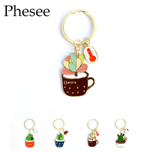 Phesee Fashion 4 Style Cute Plant Keychain Gold Color Alloy Key Chains Bag And Car Pendant Keychain Jewelry For Women Men