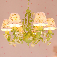 American countryside style bedroom living room chandelier lamp Korean Princess Iron Flower Restaurant Chandelier