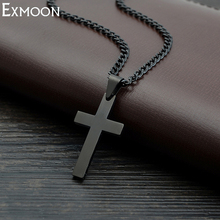 Male Black Cross Necklace Men Titanium Stainless Steel Chain Link Vintage Punk Cross Jesus Necklaces&Pendants Party Crux Jewelry(China)