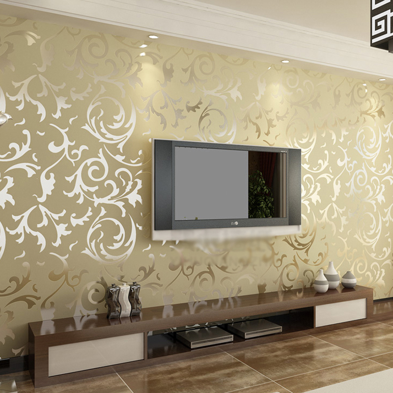 Luxury non-woven Beige color 3d wallpaper roll for TV background vinyl stripe wall paper for living room 3d wallcoverings<br>