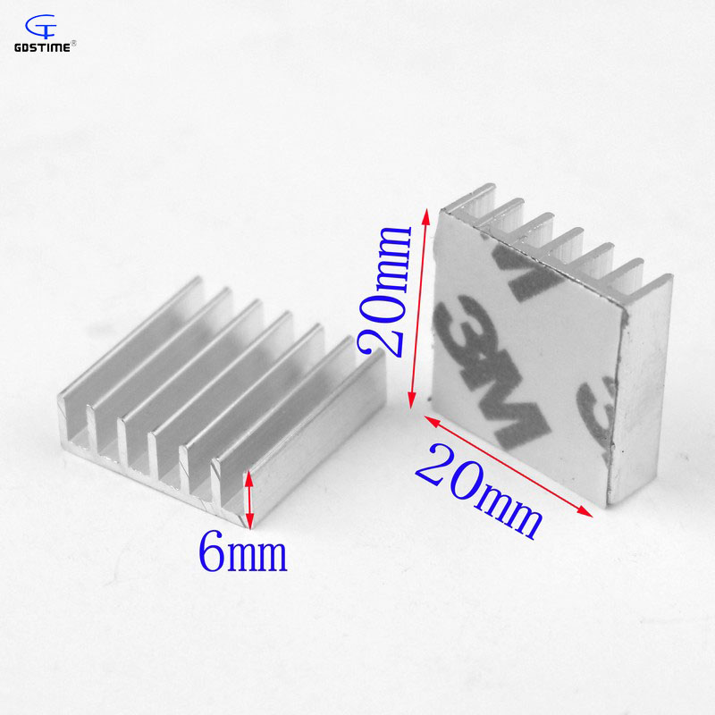 Gdstime 200pcs 20x20x6mm Aluminium Heat Sink 20mm x 6mm IC LED Cooling Cooler Extruded Heatsink Radiator with 3M Tape wholesale