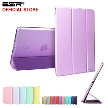 Case para mini 1 2 3, esr tri-cor fold smart cover ultra fino couro pu transparente voltar case para mini 1 2 3