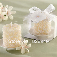 wedding favor gift and giveaways -- Wedding party Souvenir Plumeria Floral-Scented Candle with Ceramic Candle Holder 100pcs/lot