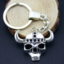 Home Decor Metal Crafts Party Favors ox skull Pendants DIY Car Key Ring Holder Souvenir Gift Optional Package Kraft Paper Box(China)