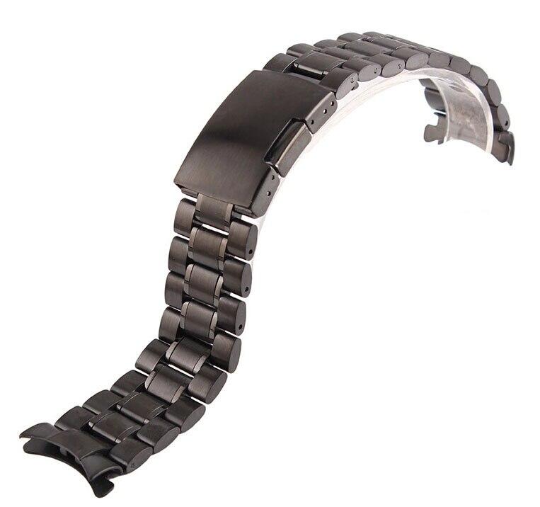 New Men Women 22mm Black Steel Watch Band Strap Bracelet Free Shipping<br><br>Aliexpress