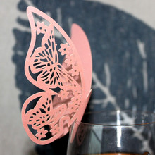 50pcs Butterfly Wine Glass Card For Wedding Party Home Decor Paper Name Cards Cup Card Wedding Decorations Place Escort Card