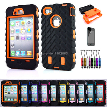 Armored robot Triple Shockproof Rugged Hybrid Phone Case Cover & Screen protection & Stylus pen For iphone 4 4S 4G 4GS