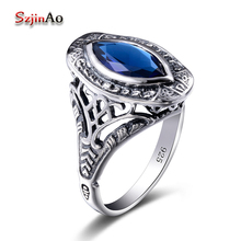 Szjinao Olive Type Marriage Ring manufacturer 925 sterling silver jewelry Bohemia Anel vintage blue stone Rings gift bague