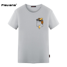 Flevans Mens O-neck T Shirts Plush Size Funny Cat Print T-shirt Tops Short Sleeve Men Brand T Thirts Clothes Summer Fashion Tees