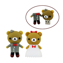 cartoon bear pendrive bride groom pen drive 4gb 8gb 16gb 32gb 64gb usb flash drive real capacity memory stick wedding gift usb