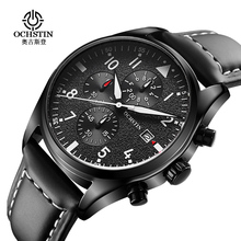 OCHSTIN Quartz Watches 3ATM Water Resistant Fashion Analog Men's Watch Luxury Genuine Leather Strap Trendy Man Wristwatch