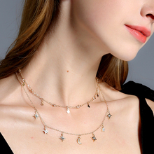 Chain Necklaces for Women 2017 Two Layered Chain Moon Star Pendent Women Statement Jewelry Charm Necklace Party Wedding Bijoux(China)