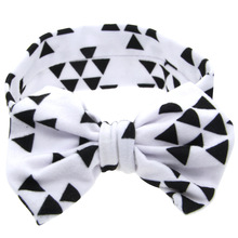 Cute Print Stretch Cotton Big Bow Headband With Dots For Girls Kid Floral Knotted Head Wrap Turban Hair Accessories