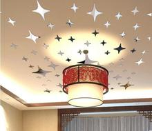39 Pieces / Pack Star Shape 3D Acrylic Wall Stickers Living Room Bed Room Ceiling Mirror Wall Sticker Home Decoration