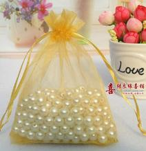 free shipping 100 Pcs Organza Wedding Favour Bags Jewellery Pouches gold for gift 7x9cm(China)