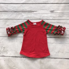 christmas baby girls gift three quater cotton sante green red boutique cute topT-shirt fall reglans striped clothes ruffles